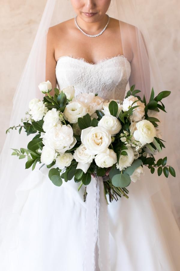 Sunset, Lilac Winery Wedding with Beautiful Vintage Details | White Rose & Eucalyptus Bridal Bouquet & Sweetheart Neckline | Santa Ynez Valley, Santa Barbara California Wedding | christinechangphoto.com - LA Based Wedding Photographer