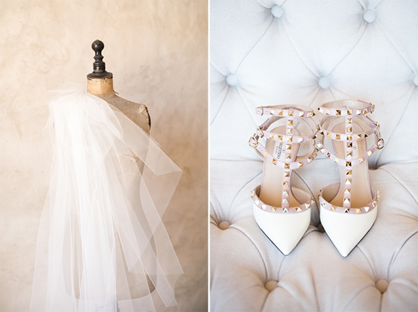 Sunset, Lilac Winery Wedding with Beautiful Vintage Details | Santa Ynez Valley, Santa Barbara California Wedding | Studded, Pointy Toe Wedding Shoes | christinechangphoto.com - LA Based Wedding Photographer