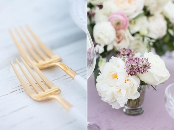 Sunset, Lilac Winery Wedding with Beautiful Vintage Details | Santa Ynez Valley, Santa Barbara California Wedding | Gold Flatware | christinechangphoto.com - LA Based Wedding Photographer