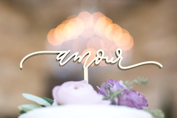 Sunset, Lilac Winery Wedding with Beautiful Vintage Details | Santa Ynez Valley, Santa Barbara California Wedding | Amor Cake Topper | christinechangphoto.com - LA Based Wedding Photographer