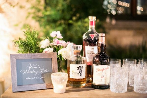Wedding Whiskey Bar - Sunset, Lilac Winery Wedding with Beautiful Vintage Details | Santa Ynez Valley, Santa Barbara California Wedding | christinechangphoto.com - LA Based Wedding Photographer