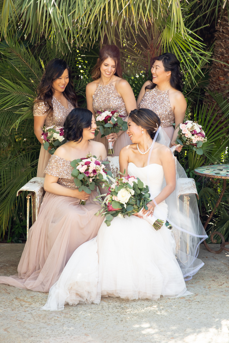 Blush Sparkly Bridesmaids Dresses. Wedding at The Mountain Mermaid in Topanga. www.christinechangphoto.com